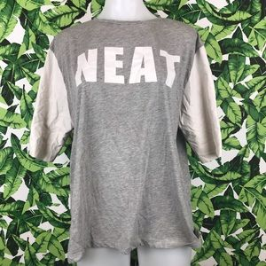 5 for $25 ASOS Gray White Faux Leather NEAT Tee